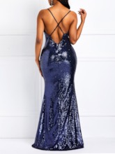 Sequins Spaghetti Strap Mermaid Women's Maxi Dress