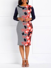 Color Block Print Round Neck Women's Long Sleeve Dress