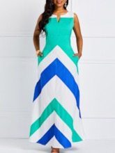 Sleeveless Patchwork A-Line Women's Maxi Dress