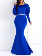 Long Sleeve Round Neck Patchwork Women's Maxi Dress Without Belt