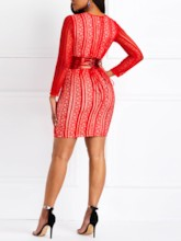 Round Neck Long Sleeve Lace Women's Bodycon Dress