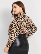 Leopard Lapel Single-Breasted Plus Size Women's Shirt