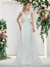 Bateau Neck Buttoned Mermaid Lace Wedding Dress 2019