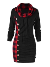 Heap Collar Long Sleeve Button Winter Women's Bodycon Dress