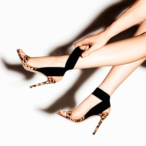 Elastic Band Stiletto Heel Ankle Strap Open Toe Leopard Sandals