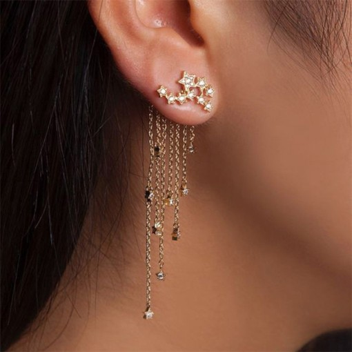 Shiny Star Tassel Alloy E-Plating Party Earrings