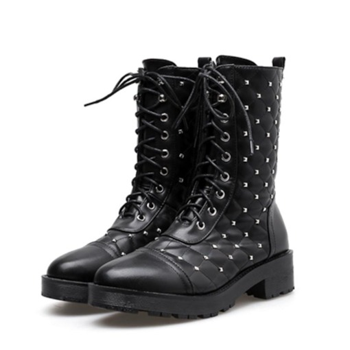 Block Heel Lace-Up Front Round Toe Plain Women's Ankle Boots