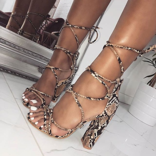 Open Toe Lace-Up Heel Covering Chunky Heel Serpentine Sandals