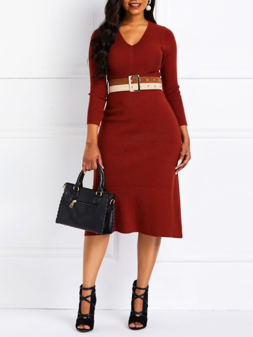 Belt Nine Points Sleeve V-Neck Women's Sweater Dress