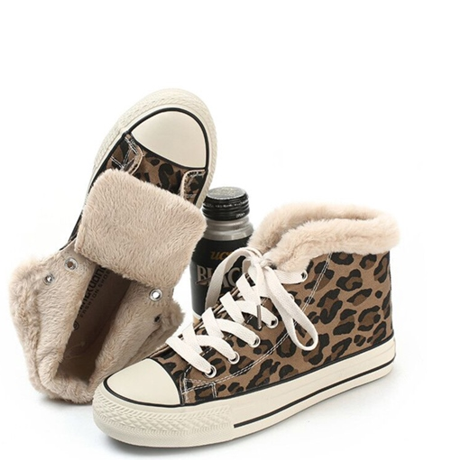 Lace-Up Round Toe Purfle High-Cut Upper Leopard Women's Sneakers