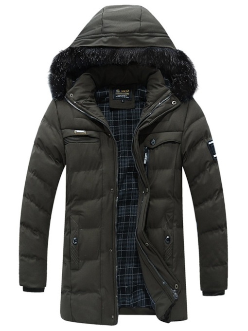 Mid-Length Fleece Lined Fur Hooded Men's Puffer Coat