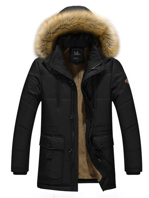 Plain Standard Pocket Fur Hooded Casual Men's Down Jacket