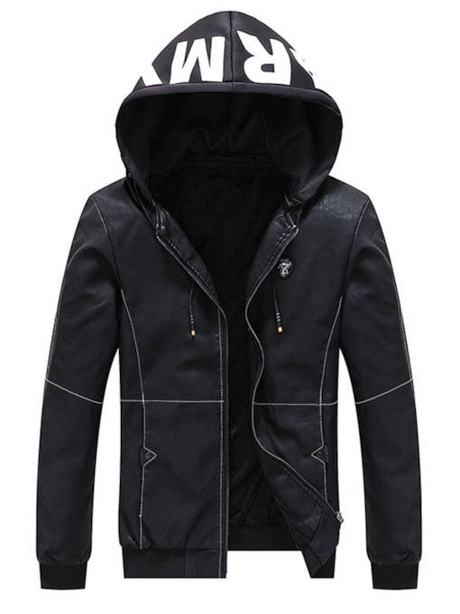 Letter Print Hooded Full-Zipper Men's PU Jacket