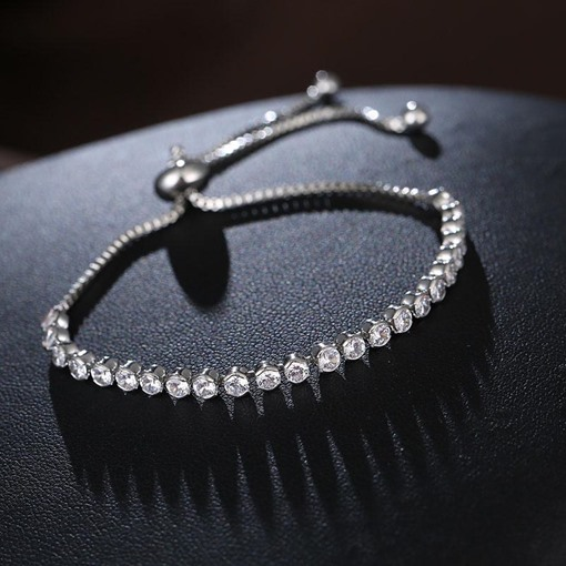 Adjustable Round Full Drill Lady Chain Bracelet