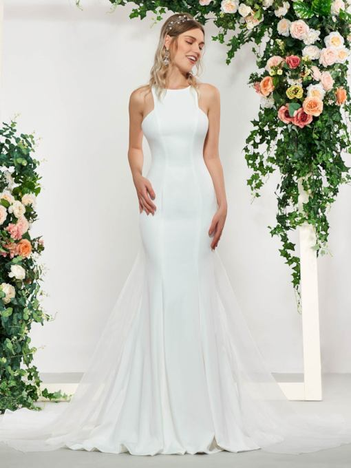 Scoop Neck Mermaid Wedding Dress with Train
