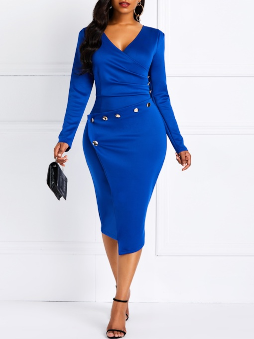Asymmetric Nine Points Sleeve V-Neck Plain Women's Bodycon Dress