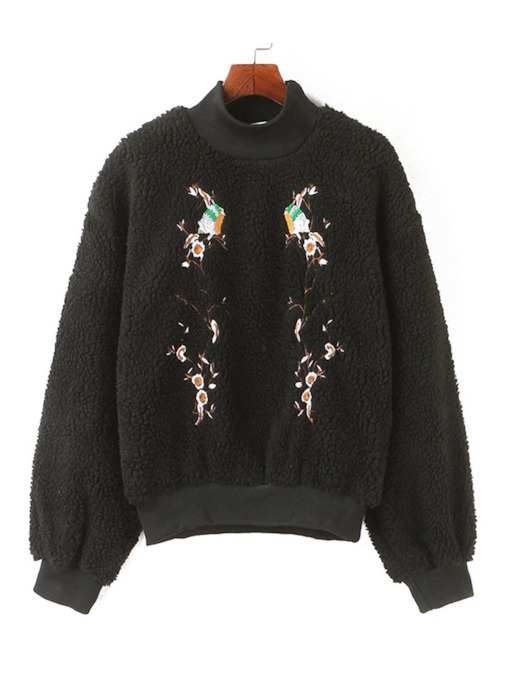 Floral Embroidery Stand Collar Teddy Women's Sweatshirt