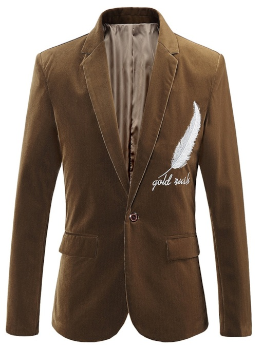 Embroidery Casual Notched Lapel Letter Men's leisure Blazer