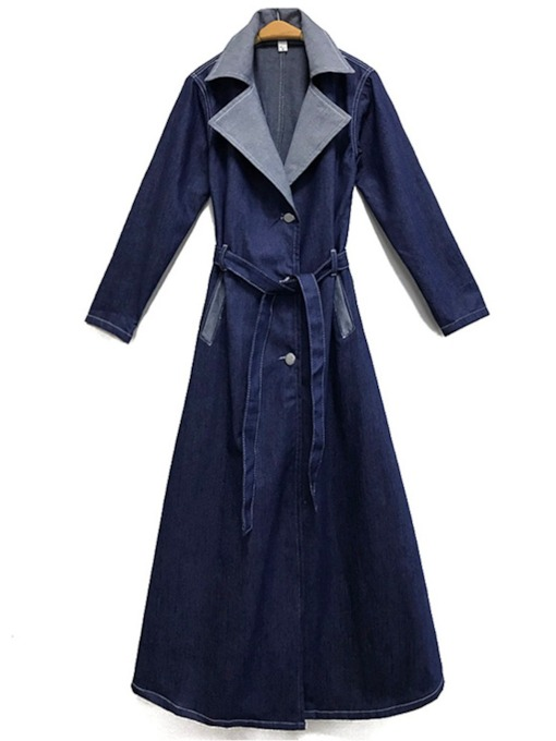 Notched Lapel Hemline/Peplum Women's Trench Coat