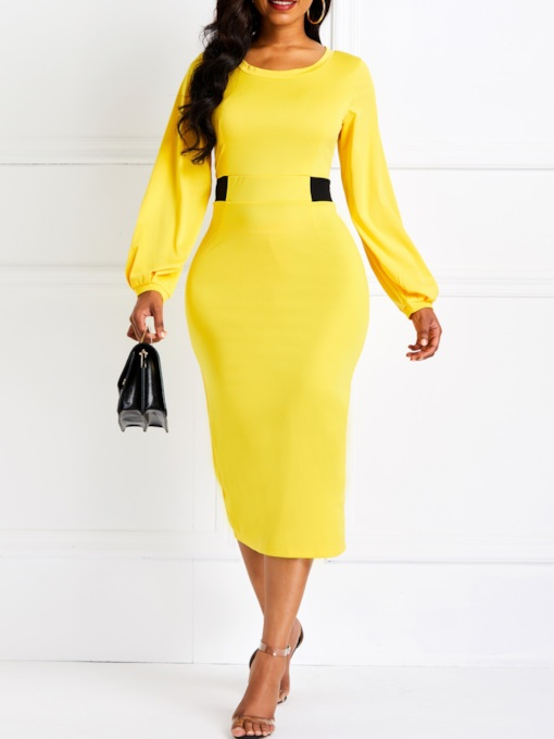Round Neck Long Sleeve Fall Women's Bodycon Dress