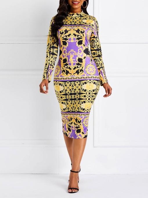 Print Long Sleeve Elegant Women's Bodycon Dress