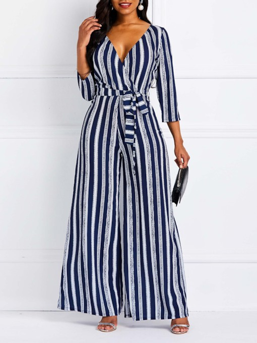 Fashion Full Length Lace-Up Stripe High-Waist Women's Jumpsuits