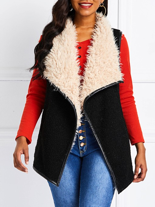 Faux Fur Wide-Lapel Women's Cape