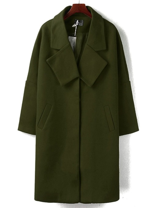 Straight Hidden Button Plain Women's Overcoat