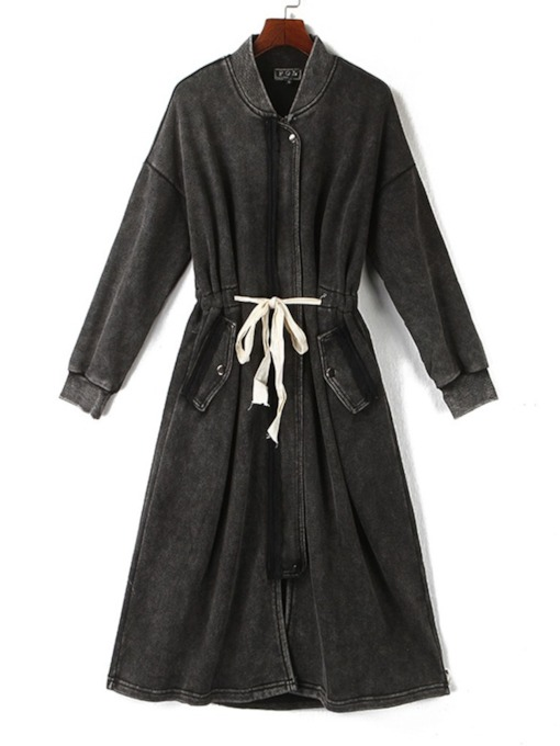 Mid-Length Stand Collar Women's Trench Coat