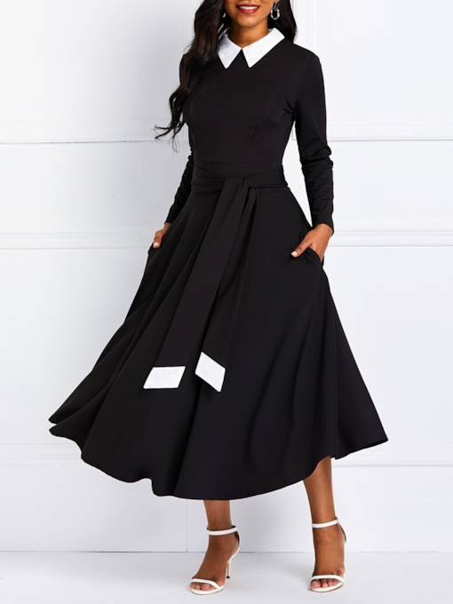 Lapel Lace-Up Long Sleeve Women's Maxi Dress