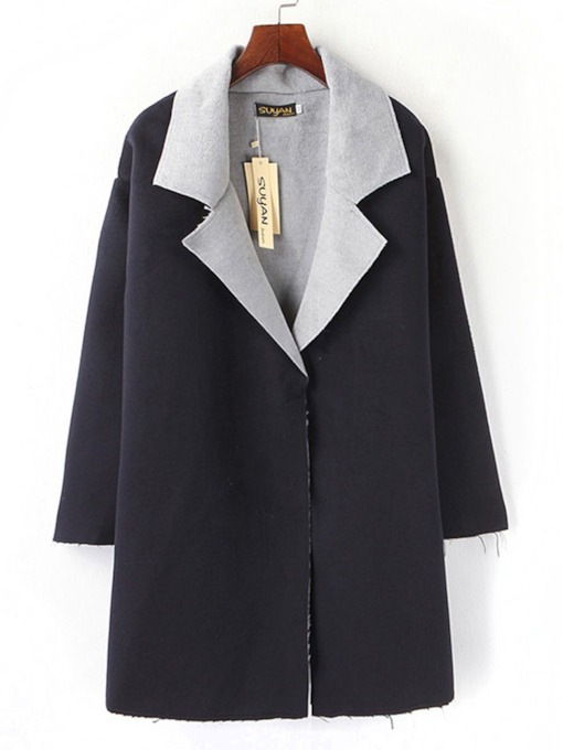 Notched Lapel Hidden Button Fall Women's Overcoat