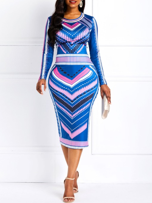 Round Neck Print Long Sleeve Women's Bodycon Dress