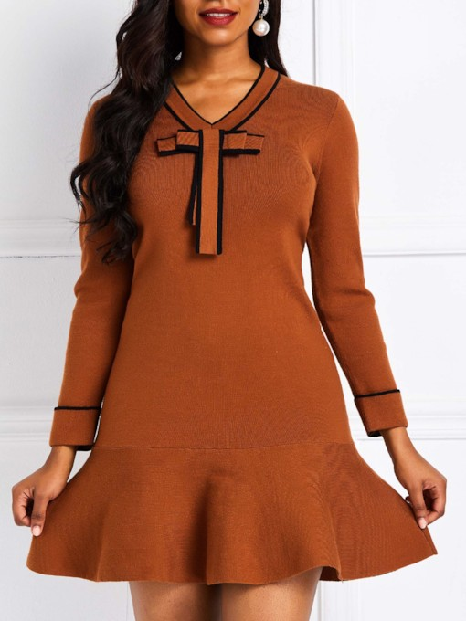 Plain A-Line Casual Women's Long Sleeve Dress