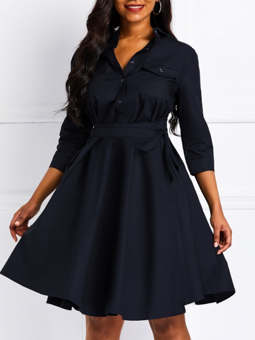 Three-Quarter Sleeve Lace-Up A-Line Women's Day Dress