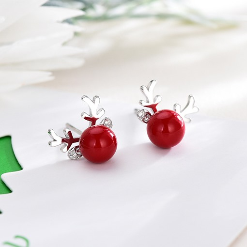 Christmas Gift Reindeer Shape Silver-Plated Red Pearl Earrings
