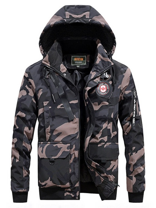 V-Neck Hooded Camouflage Casual Men's Down Jacket