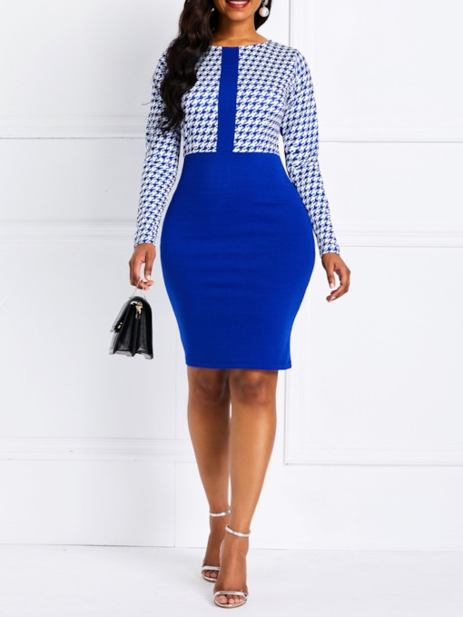 Nine Points Sleeve Plaid Patchwork Women's Bodycon Dress