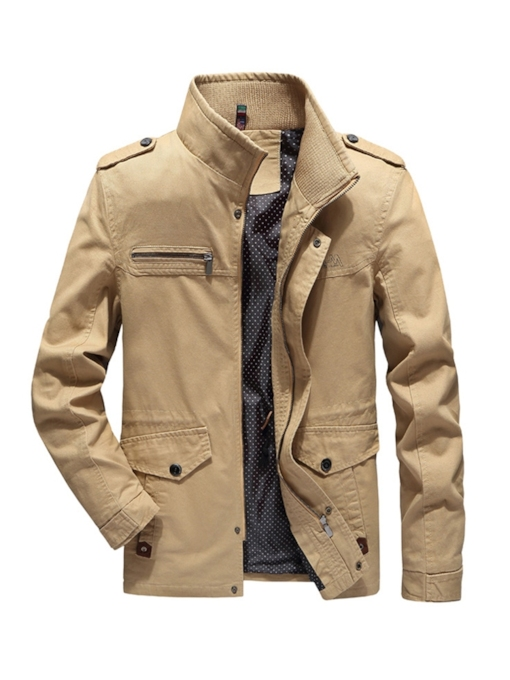 Plain Pocket Stand Collar Casual Men's Jacket