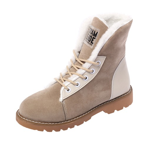 Plain Lace-Up Front Block Heel Round Toe Short Floss Snow Boots