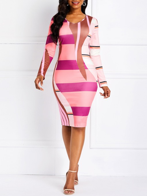 Long Sleeve Color Block Women's Bodycon Dress