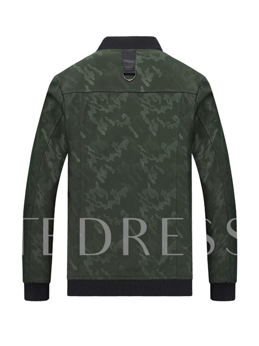 Camouflage Stand Collar Straight Men's Jacket