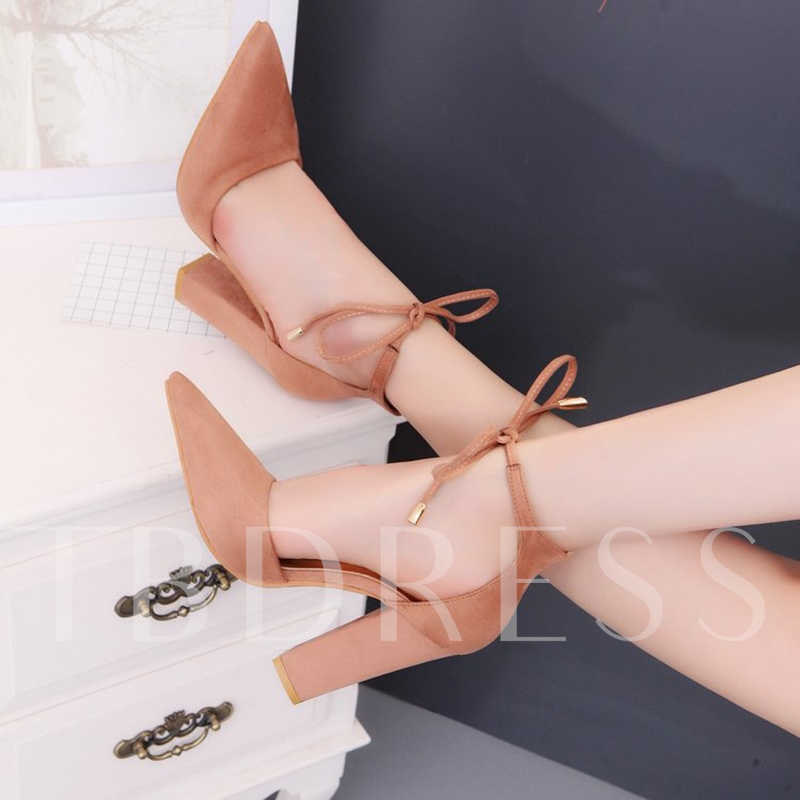 Pointed Toe Chunky Heel Lace-Up Plain Women's Pumps
