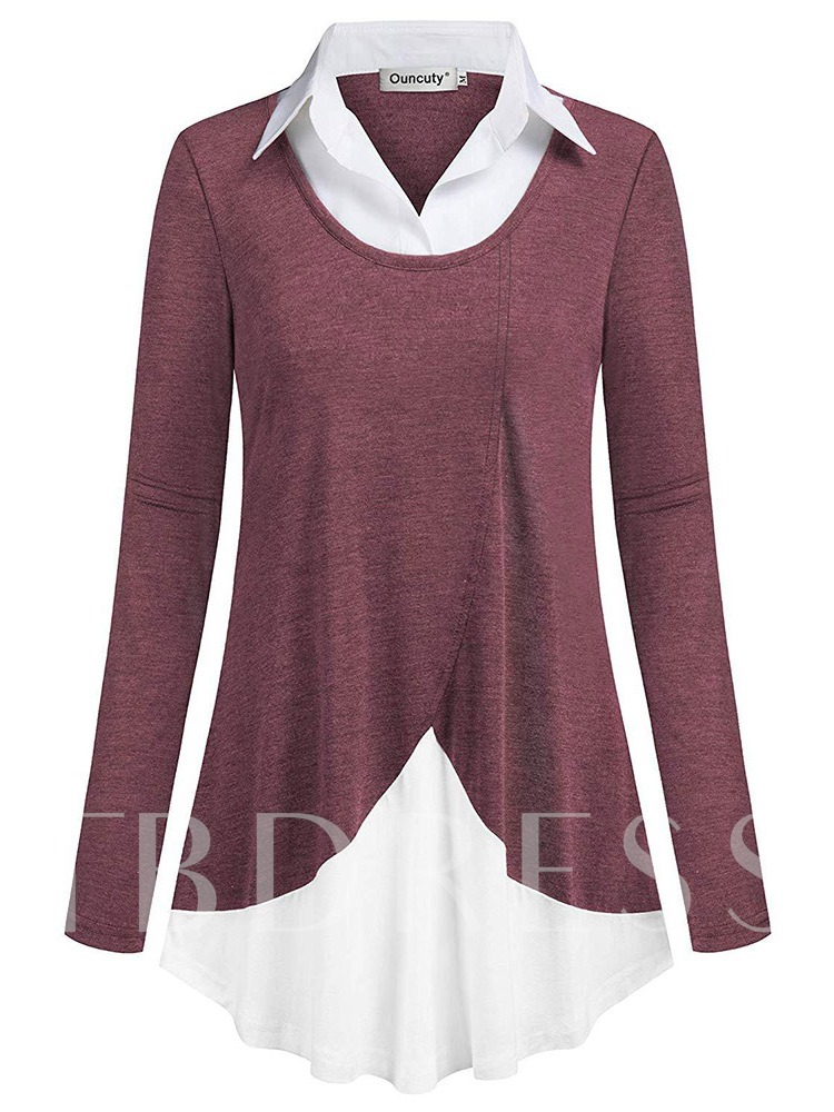 Long Sleeve Asymmetric Double-Layer Women's Sweatshirt