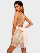 V Neck Backless Sexy Sequins Short Slim Women's Rompers