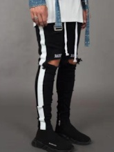 Side Striped Color Block Mens Casual Ripped Jeans