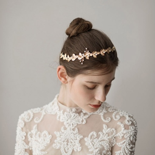 Golden Leaf Shape Pearl Hair Accessories (Wedding)