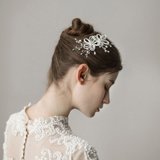 Elegant Beading Handmade Floral Hair Comb for Bride