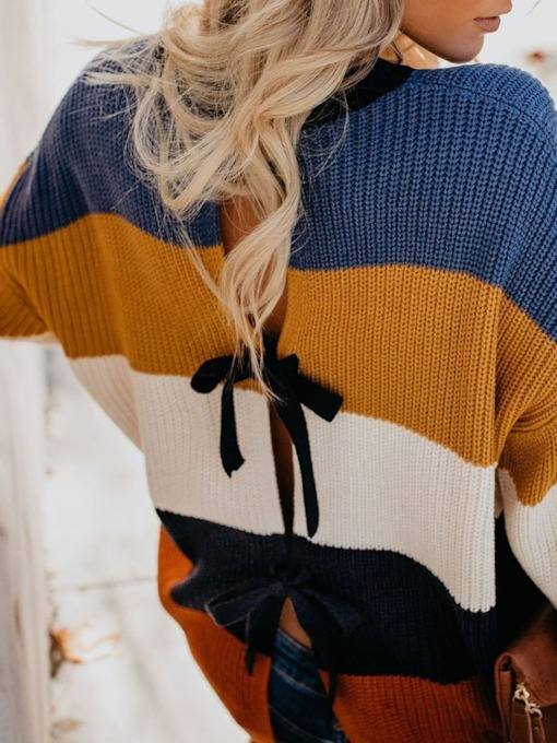 Loose Bowknot Lace-Up Women's Sweater