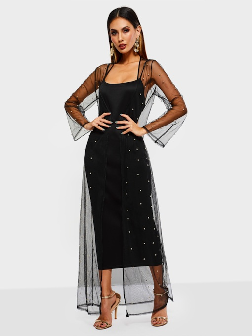 Bead Long Sleeve See-Through Women's Maxi Dress