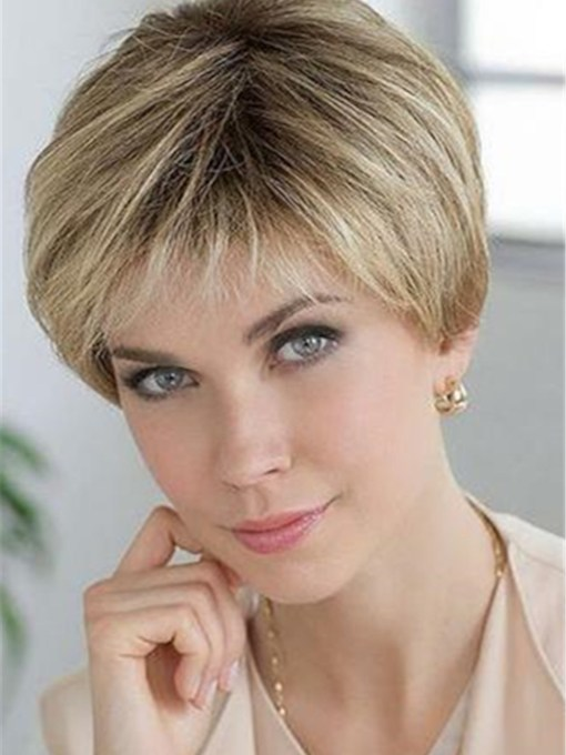 Short Natural Straight Layered Human Hair Blend Lace Front Wigs For Women 8 Inches